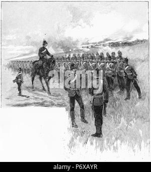 Engraving of government troops being inspected at Frankston in Victoria, Australia. From the Picturesque Atlas of Australasia Vol 2, 1886 - Stock Photo