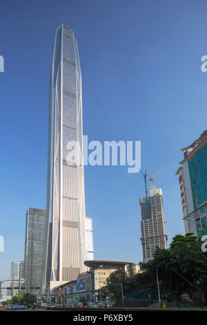 Ping An International Finance Centre (world's 4th tallest building in 2017 at 600m), Futian, Shenzhen, Guangdong, China - Stock Photo