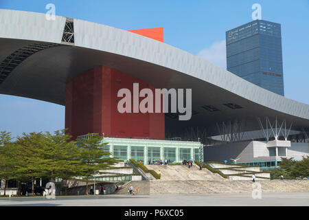 Civic Centre in Civic Square, Futian, Shenzhen, Guangdong, China - Stock Photo