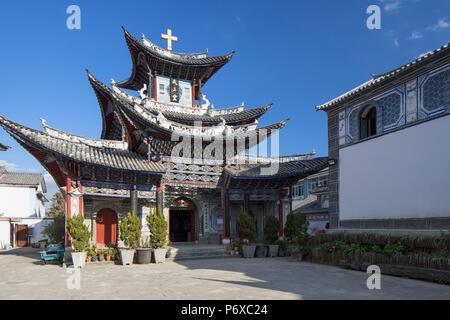 Catholic church, Dali, Yunnan, China - Stock Photo
