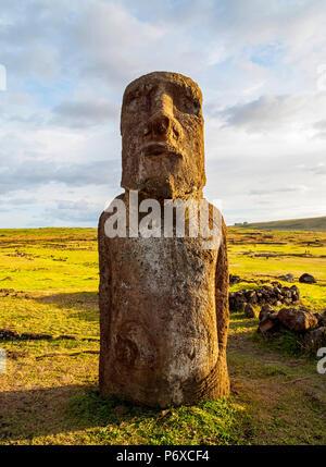 Moai in Ahu Tongariki, Rapa Nui National Park, Easter Island, Chile - Stock Photo