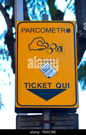 Parkautomat, Schild, Catania, Sizilien, Italien - Stock Photo