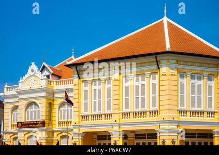 Colonial buildings along the riverfront in Battambang, Cambodia - Stock Photo