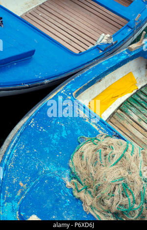 Croatia, Cres Island, Valun, fishing Boat and net - Stock Photo