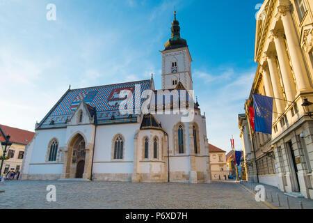 St. Mark's Church, Old Town, Zagreb, Croatia - Stock Photo
