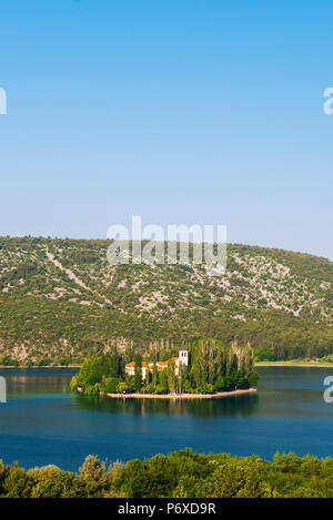 Dalmatia, Croatia, Visovac. The Roman Catholic Franciscan monastery in Krka national park - Stock Photo