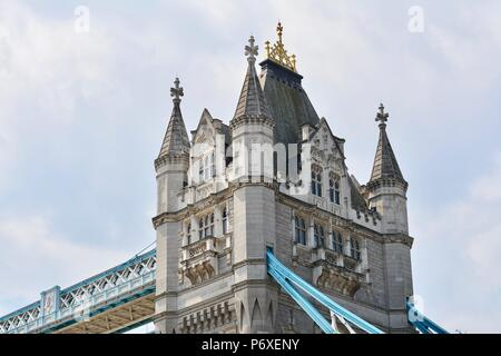 The iconic Tower Tower Bridge over the River Thames in London, United Kingdom - Stock Photo