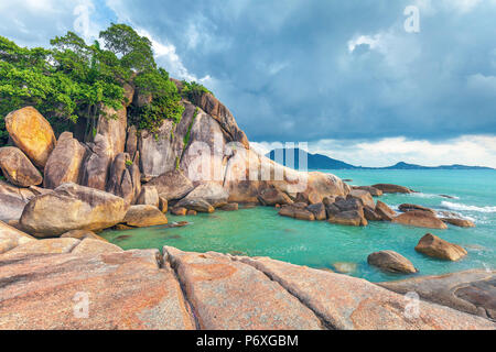Hin Ta and Hin Yai Rocks. A famous place on the island of Koh Samui in Thailand. - Stock Photo