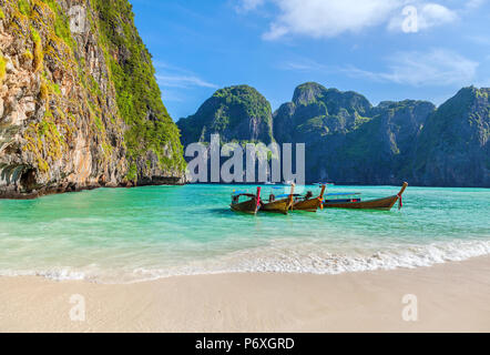 The famous Maya Bay. Krabi Province in Thailand. - Stock Photo