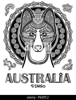 Vector image of dog dingo in ethnic style. Australian Aboriginal style - Stock Photo