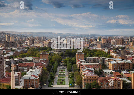 Armenia, Yerevan, View of Yerevan and Mount Ararat from Cascade - Stock Photo