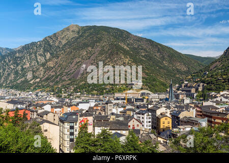 City skyline, Andorra La Vella, Andorra - Stock Photo