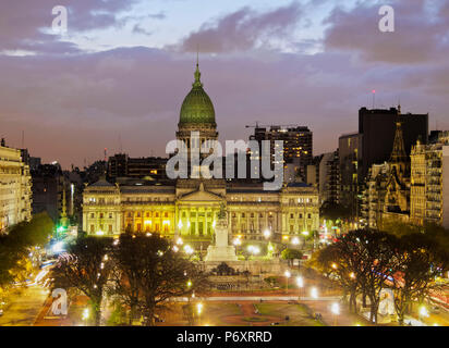 Argentina, Buenos Aires Province, City of Buenos Aires, Plaza del Congreso, Elevated view of the  Palace of the Argentine National Congress. - Stock Photo