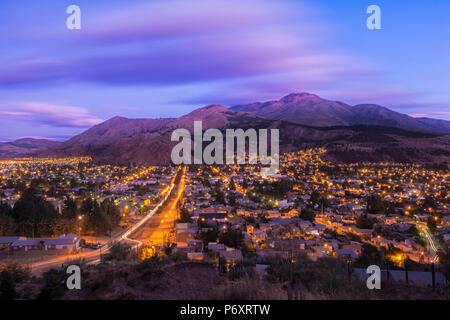 South America, Argentina, Patagonia, Rio Negro, Esquel at night - Stock Photo