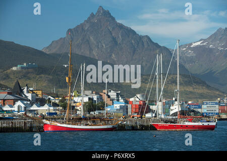 South America, Argentina, Tierra del Fuego,  Harbour at Ushuaia - Stock Photo