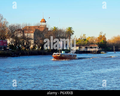 Argentina, Buenos Aires Province, Tigre, Vintage mahogany motorboats on the Lujan River Canal. - Stock Photo
