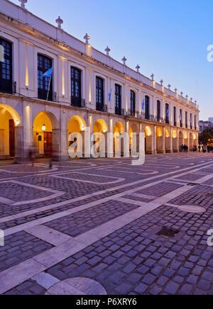 Argentina, Cordoba, Twilight view of the Cordoba Cabildo, colonial town hall. - Stock Photo