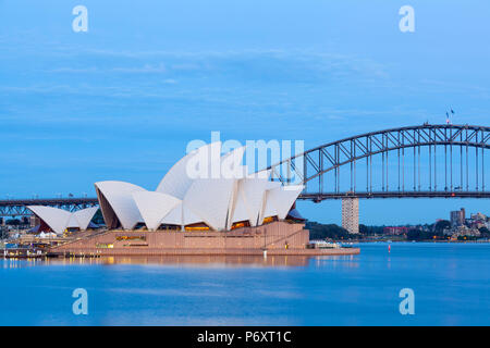 Sydney Opera House & Harbour Bridge, Darling Harbour, Sydney, New South Wales, Australia - Stock Photo