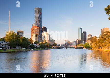Eureka Tower and skyline along Yarra River, Melbourne, Victoria, Australia - Stock Photo