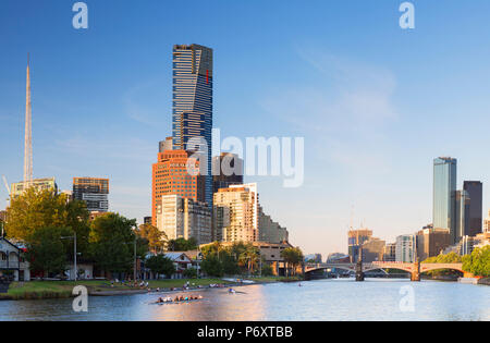 Eureka Tower and Victorian Arts Centre along Yarra River, Melbourne, Victoria, Australia - Stock Photo