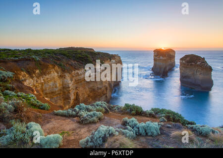 Loch Ard Gorge at sunset, Port Campbell National Park, Great Ocean Road, Victoria, Australia - Stock Photo