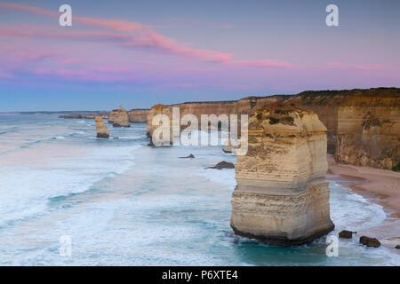 Twelve Apostles at dawn, Port Campbell National Park, Great Ocean Road, Victoria, Australia - Stock Photo