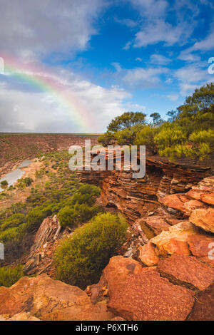 Kalbarri National Park, Kalbarri, Western Australia, Australia. Rock formation at The Loop of the Murchison River Gorge. - Stock Photo