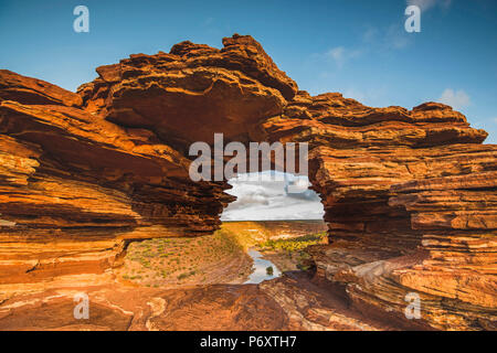 Kalbarri National Park, Kalbarri, Western Australia, Australia. Popular Nature's Window lookout and the Murchison River Gorge. - Stock Photo