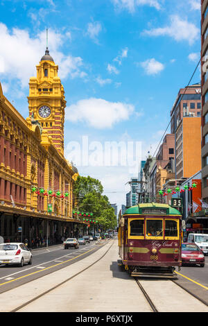Melbourne, Victoria, Australia. Flinders Street Station and the historical old tram. - Stock Photo