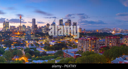 View of skyline at sunset, Sydney, New South Wales, Australia - Stock Photo