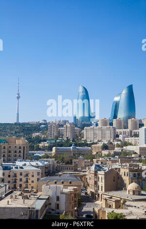 Azerbaijan, Baku, View of Old city, Flame Towers and TV Tower - Stock Photo