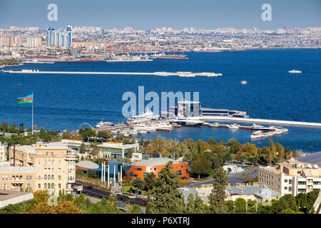 Azerbaijan, Baku, View of Baku Bay - Stock Photo