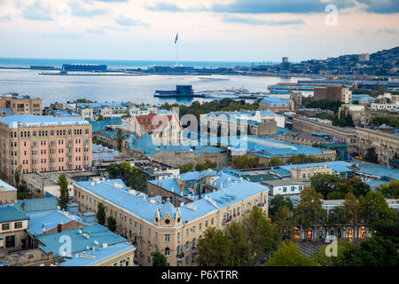 Azerbaijan, Baku, View of city looking over Fountain Square to Baku Crystal Hall, where the 2012 Eurovision Song Contest was held - and the World's second Tallest Flagmast - Stock Photo