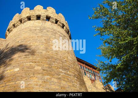 Azerbaijan, Baku, 12th-century defensive walls of The Old Town - Icheri Sheher, - Stock Photo