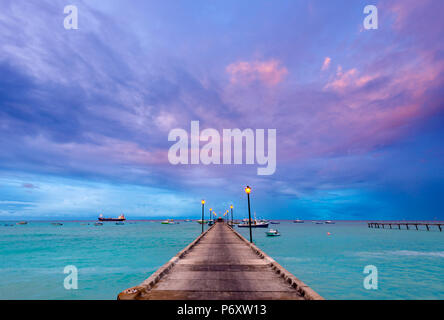 Caribbean, Barbados, Oistins, Oistins Beach, Fishing Boat Jetty - Stock Photo