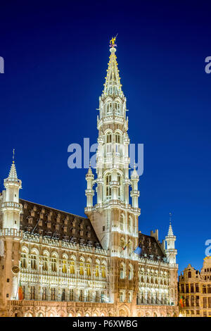 Belgium, Brussels (Bruxelles). Hotel de Ville (Stadhuis) town hall on the Grand Place (Grote Markt), UNESCO World Heritage Site. - Stock Photo