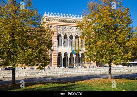 Bosnia and Herzegovina, Sarajevo, Bascarsija - The Old Quarter, Town Hall (Vijecnica) - Stock Photo