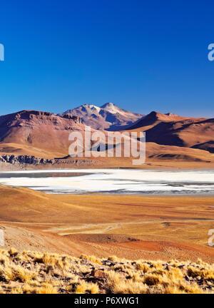 Bolivia, Potosi Department, Sur Lipez Province, View towards Laguna Morejon and Volcano Uturuncu. - Stock Photo