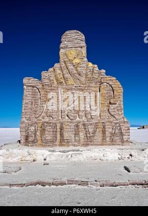 Bolivia, Potosi Department, Daniel Campos Province, Dakar Bolivia Salt Monument on the Salar de Uyuni. - Stock Photo