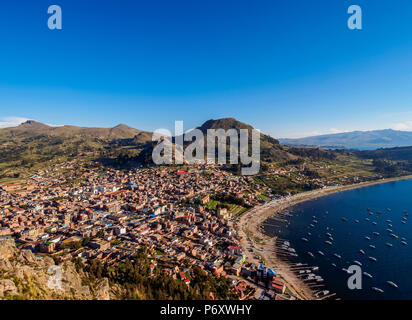 Copacabana Town and Titicaca Lake, elevated view, La Paz Department, Bolivia - Stock Photo
