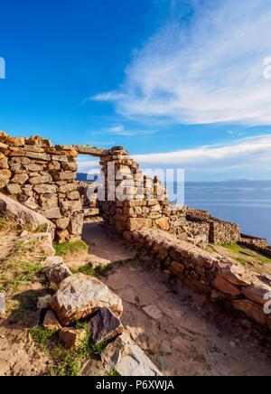 Chinkana Ruins, Island of the Sun, Titicaca Lake, La Paz Department, Bolivia - Stock Photo