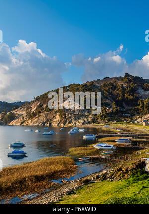 Challa Pampa Village, Island of the Sun, Titicaca Lake, La Paz Department, Bolivia - Stock Photo