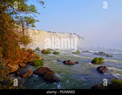 Brazil, State of Parana, Foz do Iguacu, View of Iguazu Falls. - Stock Photo