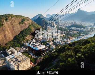 Cable Car to Morro da Urca and Sugarloaf Mountain, Rio de Janeiro, Brazil - Stock Photo