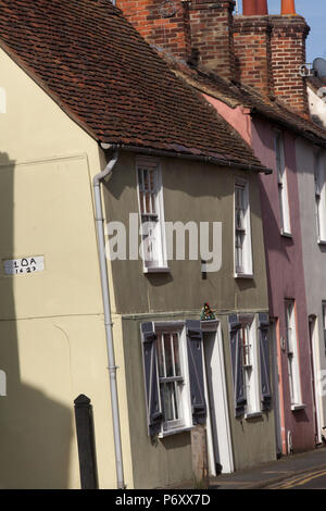 City of Canterbury, England. Picturesque view of Grade II listed houses on Canterbury's Ive Lane, with the Carolean Cottage in the foreground. - Stock Photo