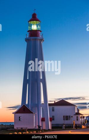 Canada, Quebec, Bas-Saint-Laurent Region, Rimouski, Pointe au Pere Lighthouse, dawn - Stock Photo