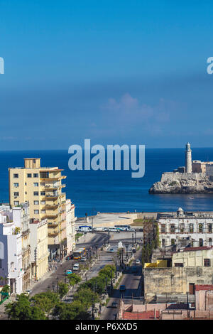 Cuba, Havana, Havana Vieje, View looking down The Prado (Paseo de Marti) to the Malecon and El Morro - Morro Castle - Stock Photo