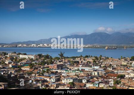 Cuba, Santiago de Cuba Province, Santiago de Cuba, City view from El Tivoli, - Stock Photo