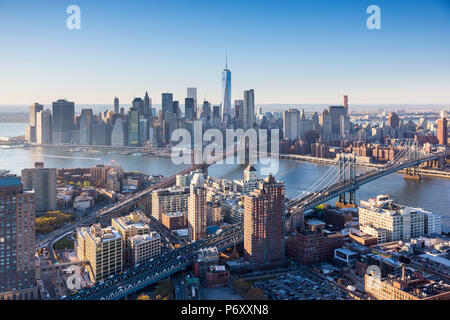 Downtown Manhattan and Brooklyn, New York City, USA - Stock Photo