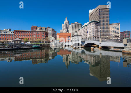 USA, Rhode Island, Providence, city skyline from the Providence River - Stock Photo